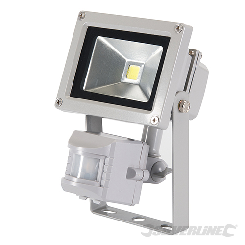 Projecteur led 10 w avec d tecteur de mouvement irp lumi re d 39 ext rieur ip65 silverline 259800 for Projecteur led avec detecteur