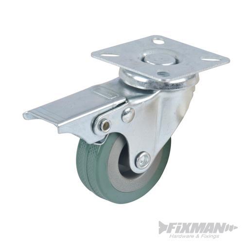 Roulette 125 mm pivot+frein
