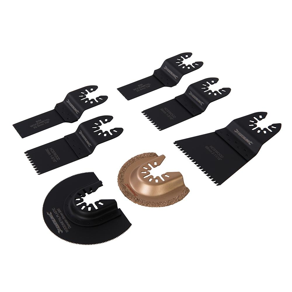 Kit outils de coupe pour outil oscillant 7 pcs silverline for Outil multifonction coupe carrelage