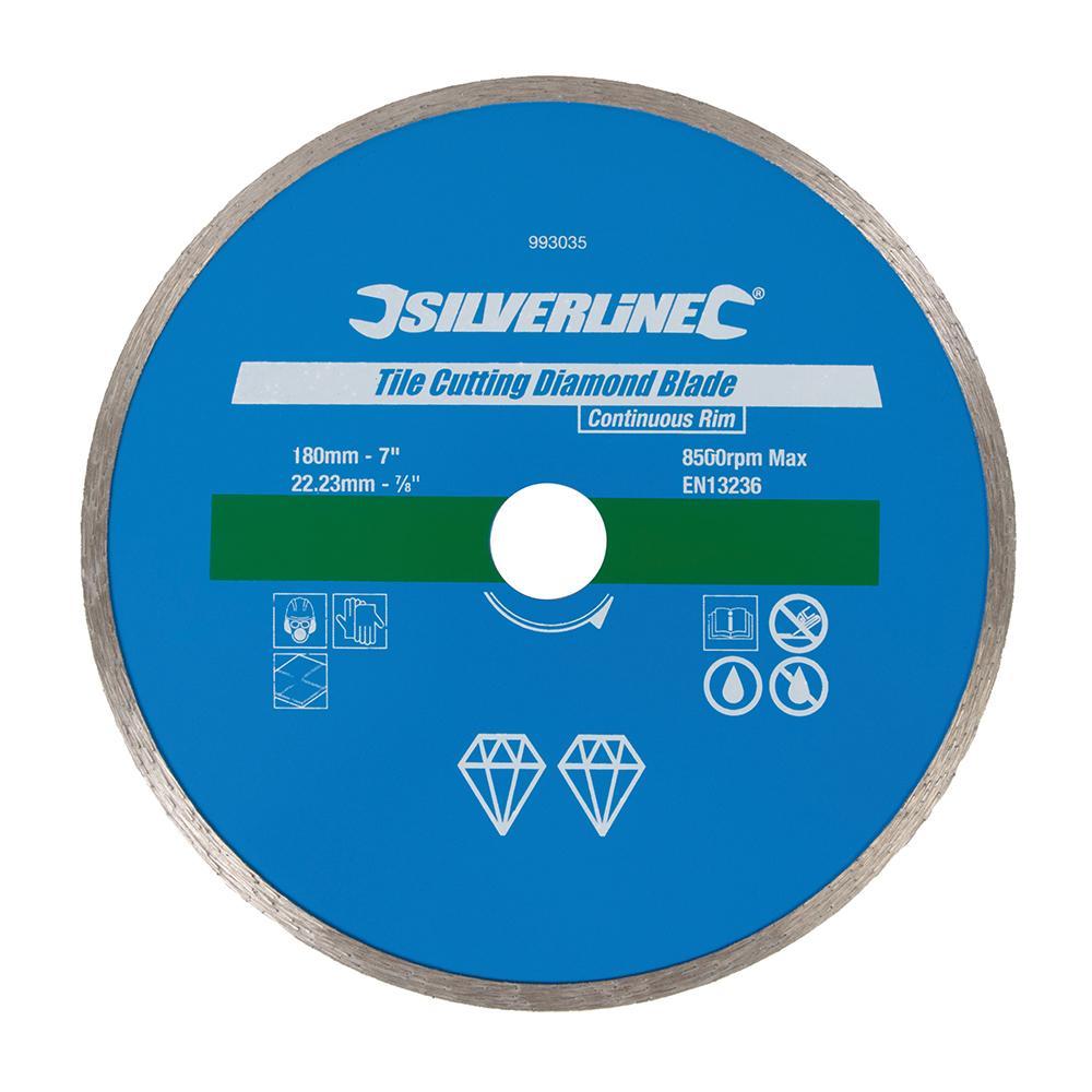 Disque diamant 180 mm pour carrelage silverline 993035 outillage professionnel discount et - Disque coupe carrelage 180 mm ...