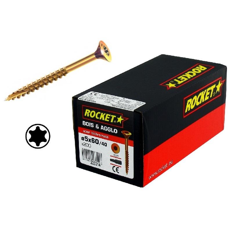 Vis bois agglo anti fendage torx filetage partiel pas cher ~ Vis A Bois Rocket