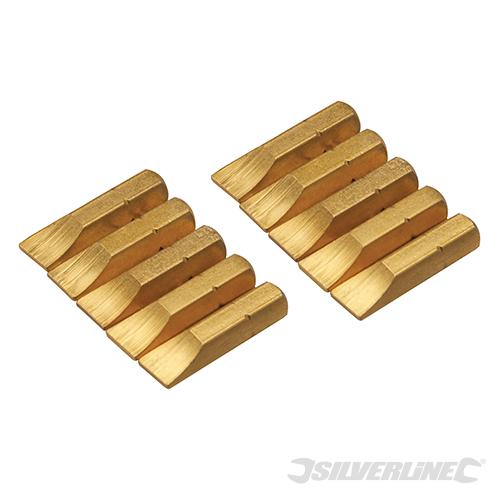 10 embouts de vissage plats dorés pour vis à fente.En acier S2 titané.T6 ou 7 mm