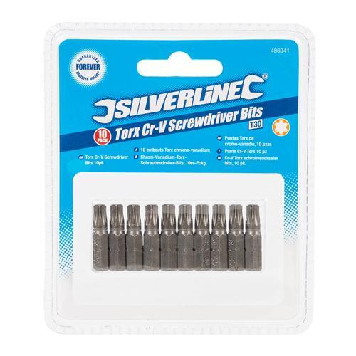 Silverline 486941 Lot de 10 Embouts Torx Chrome-Vanadium