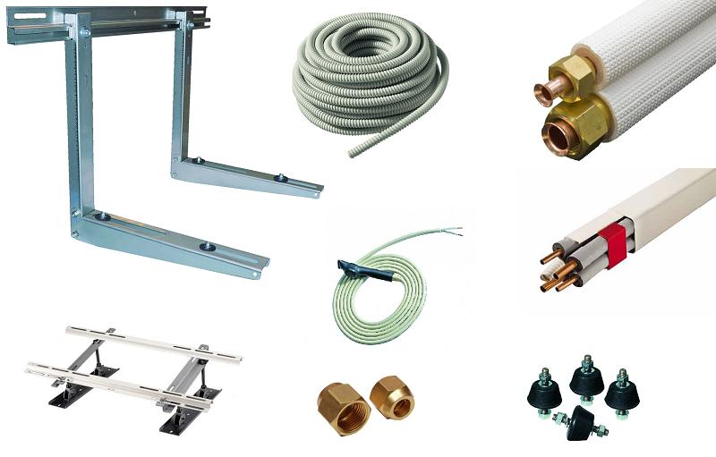 Accessoires pour la pose de climatisation à prix discount : supports, liaisons cuivre, goulottes et évacuation des condensats à prix discount