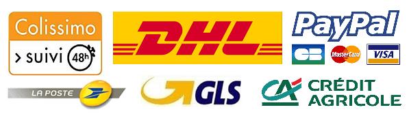 Colissimo, Mondial Relay, DHL, Paypal, e-Transactions