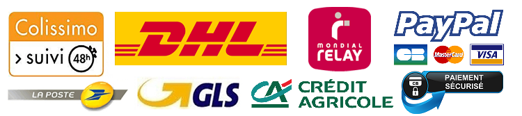 Colissimo, Mondial Relay, DHL, Paypal, e-Transactions