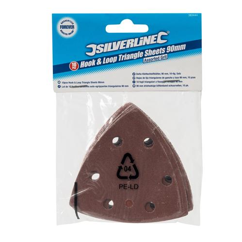 Silverline 383444 Lot de 10 feuilles abrasives auto-agrippant triangulaires 90/ mm grains assortis Marron