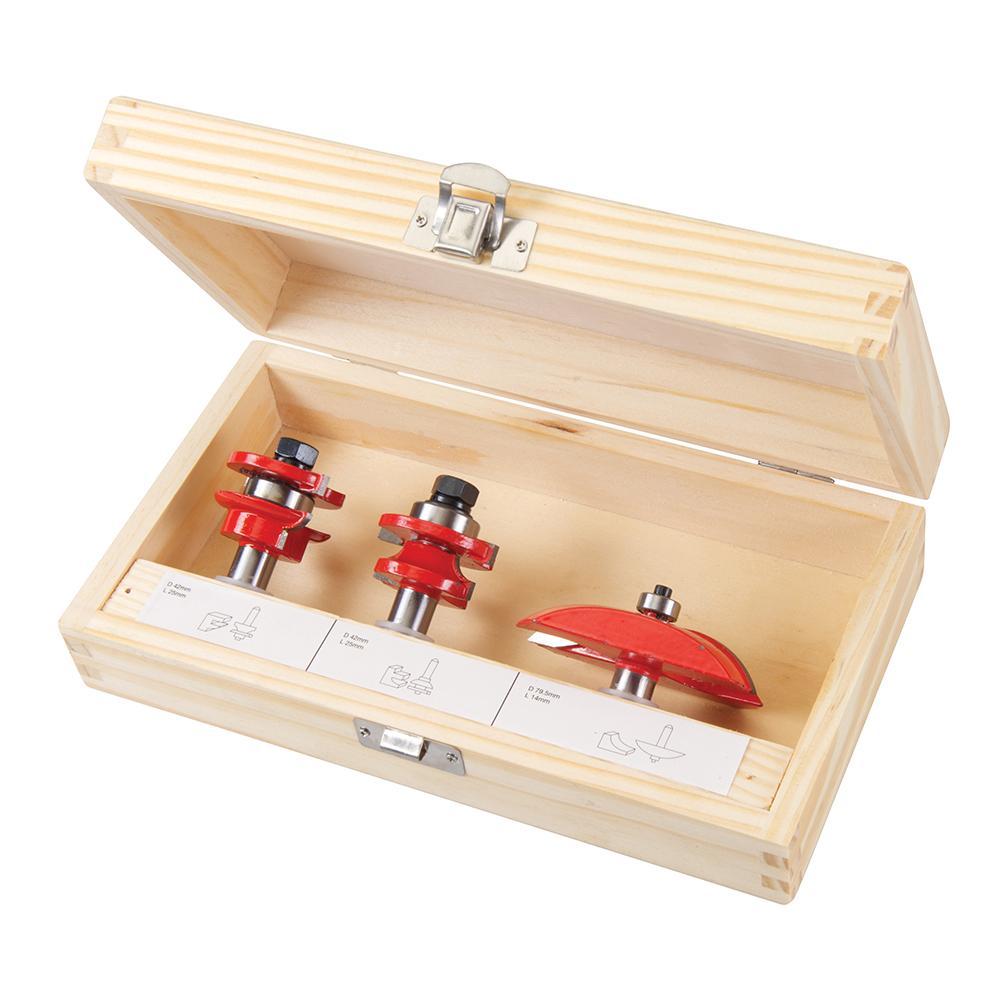 coffret de 3 fraises de d fonceuse pour portes panneaux silverline 793749 outillage. Black Bedroom Furniture Sets. Home Design Ideas