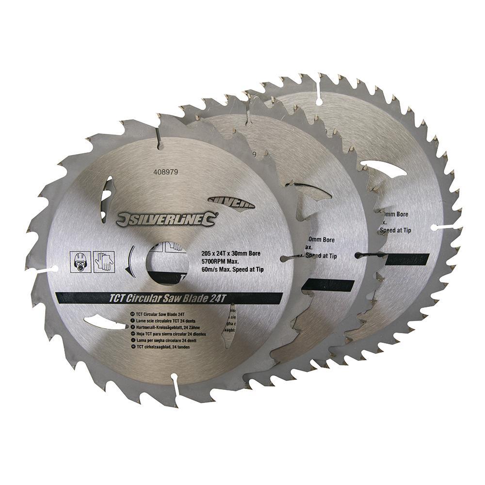3 lames pour scie circulaire 205 x 30 mm - 24, 40, 48 dents ... 4717a1de183c