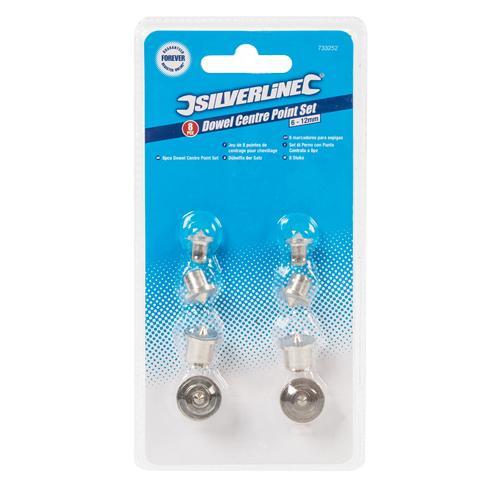 Silverline 733252 Jeu de 8 pointes de centrage pour chevillage 6-12mm